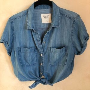 Abercrombie & Fitch Tie-Up Chambray crop top